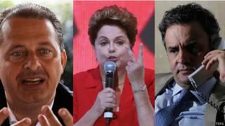 Campos (e), Dilma (c) e Aécio (d) - Reuters