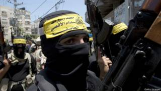 Бойцы ХАМАС на похоронах убитых боевиков в Газе
