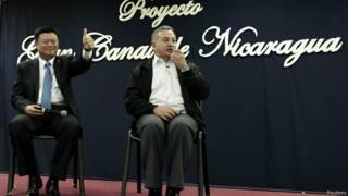 Wang Jing, presidente de HKND, y Telémaco Talavera, miembro de la Comisión del Gran Canal de Nicaragua