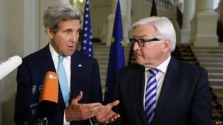 John Kerry y Frank-Walter Steinmeier