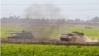 دبابة إسرائيلية متوجهة إلى غزة