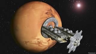 Звездолет подлетает к Марсу