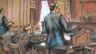 رسم تصوري لجلسة سابقة لنفس المحكمة في قضية ديون الأرجنتين
