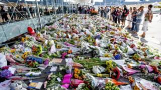 Flores depositadas na Holanda em homenagem às vítimas do voo MH17 (EPA)