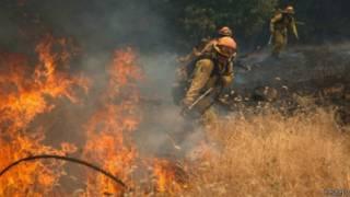رجل إطفاء يقاوم الحرائق في غابات كاليفورنيا
