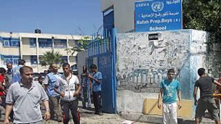 Shule ya Umoja wa Mataifa ya Rafah Gaza iliyoshambuliwa na Israil