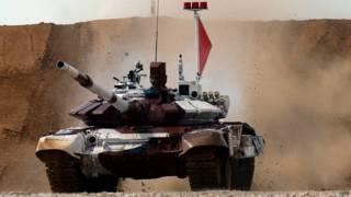 Российский танк на международных соревнованиях по танковому биатлону