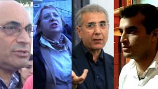 Активисты под арестом: (слева направо) Ариф и Лейла Юнус, Интигам Алиев и Расул Джафаров