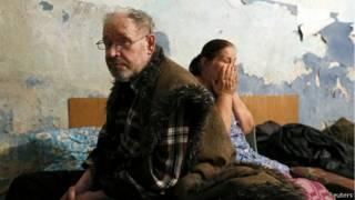 مواطنون أوكرانيون في مدينة دونيتسك شرقي البلاد
