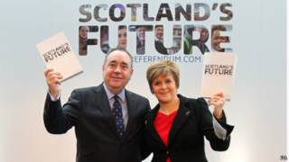 蘇格蘭首席部長亞歷克斯•薩蒙德(左)和第一副部長尼古拉•斯特金