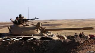 庫爾德部隊正在伊拉克北部與「伊斯蘭國」的激進民兵作戰