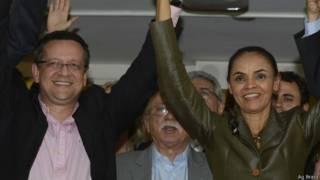 Marina Silva com Beto Albuquerque, nesta quarta-feira (Ag Brasil)