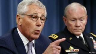 وزير الدفاع الأمريكي تشيك هاجل ورئيس الأركان