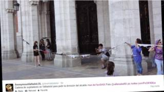 Protesto em Valladolid (Reprodução)