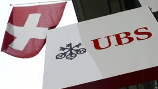 Швейцарский флаг и логотип банка UBS
