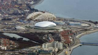 Панорама строительства приморских олимпийских объектов в Сочи
