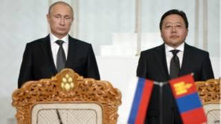 Владимир Путин и президент Монголии Цахиагийн Элбэгдорж в Улан-Баторе 3 сентября 2014 г.