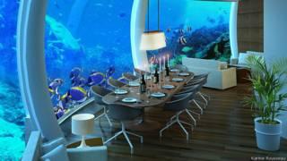 Diseño arquitectónico de sala comedor bajo el agua