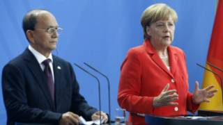 Burmese President U Thein Sein and Chancellor Angela Merkel