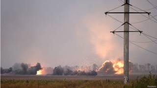 Обстрел из РСЗО в Донбассе