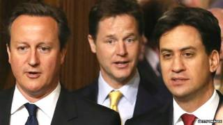 David Cameron, Nick Clegg y Ed Miliband