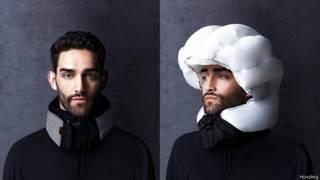 Шлем фирмы Hovding в закрытом и раскрытом состоянии