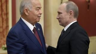 Каримов и Путин во время встречи накануне открытия сочинской Олимпиады
