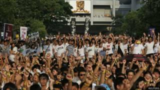 香港高校學生在中文大學「百萬大道」參與罷課集會(22/9/2014)