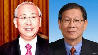 前香港政務司長許仕仁(左)和前全國政協副主席廖暉