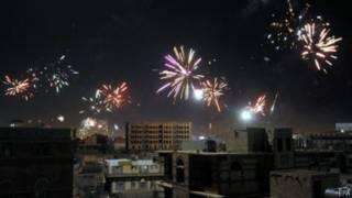 احتفالات الحوثيين بالسيطرة على صنعاء