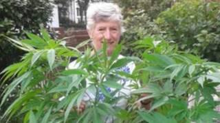 Patricia Hewitson ao lado do pé de maconha (Foto: BBC)
