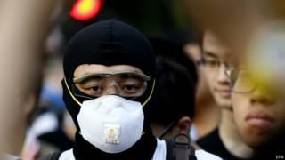 Демонстрант в Гонконге