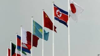 इंचियोन में लहराते झंडे