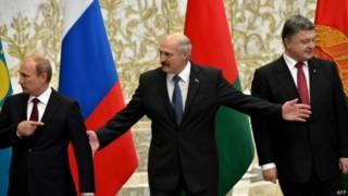 Лидеры России, Белоруссии и Украины на переговорах в Минске