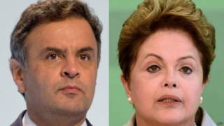Aécio e Dilma / Crédito: AFP