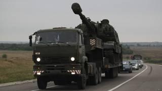 Российский военный грузовик в Ростовской области