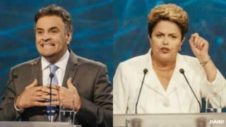 Montagem Aécio e Dilma no debate da Band / Crédito: Band