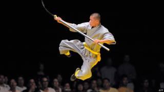 Demonstração de kung fu