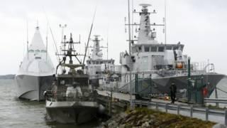 Шведские корабли в порту