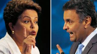 Os candidatos Dilma Rousseff e Aécio Neves