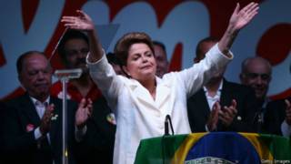 Dilma Rousseff após a vitória (Getty Images)