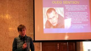Сестра Олега Сенцова Наталья на показе фильма в посольстве Украины