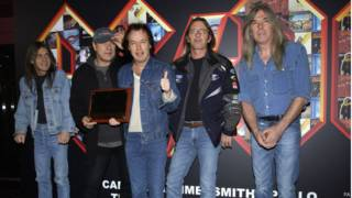 AC/DC (from left to right) Malcolm Young, Brian Johnson, Angus Young, Phil Rudd and Cliff Williams as Malcolm Young, who recently left the band due to ill-health, is reportedly suffering from dementia