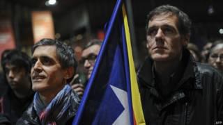 Activistas proindependencia en Barcelona