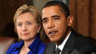 ओबामा और हिलेरी क्लिंटन