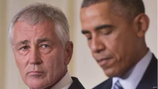Chuck Hagel y Barack Obama