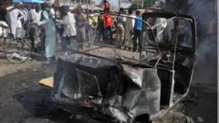 Daya daga cikin hare-haren da Boko Haram ta kai a wata kasuwa a Maiduguri