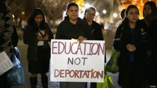 Protesto contra deportações nos EUA, na segunda-feira (Getty)
