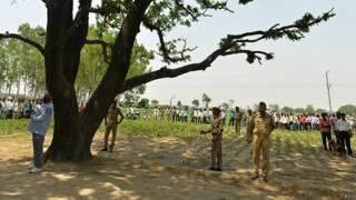 भारत, बदायूं, पेड़ जिसपर दो लड़कियों की लाशें मिली थीं