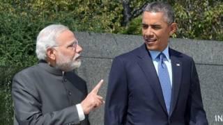 बराक ओबामा के साथ मोदी